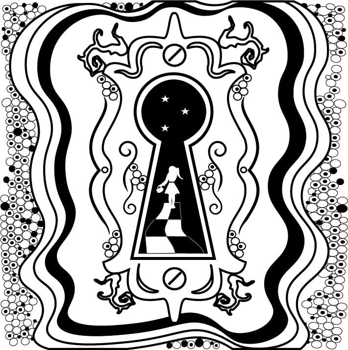 alice in wonderland keyhole clipart - 596×620